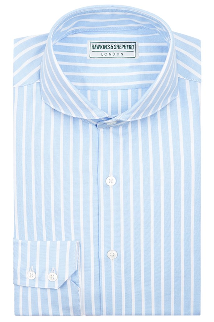 Formal Extreme Cutaway Shirt Blue White Stripe