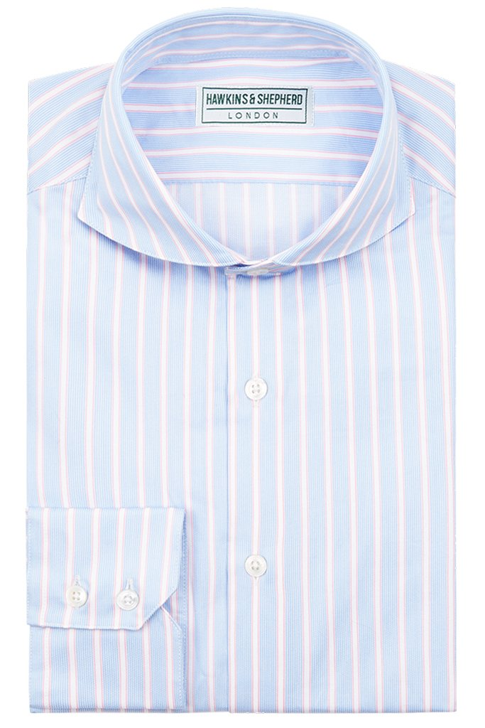 Formal Extreme Cutaway Shirt Blue Pink Stripe