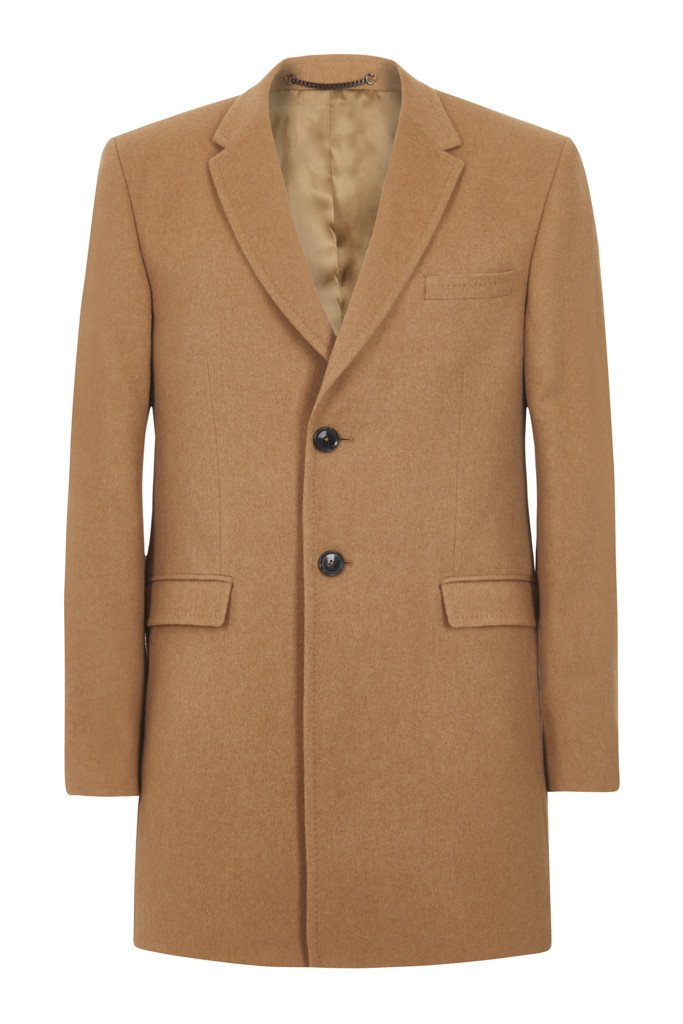 Camel Single-breasted overcoat