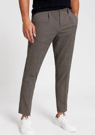 River Island Brown Check Trousers