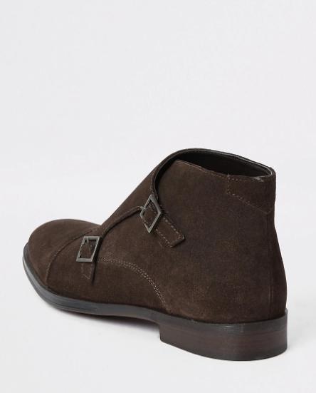 River Island Dark Brown Monk Strap Boot