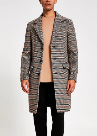 River Island Brown Longline Overcoat