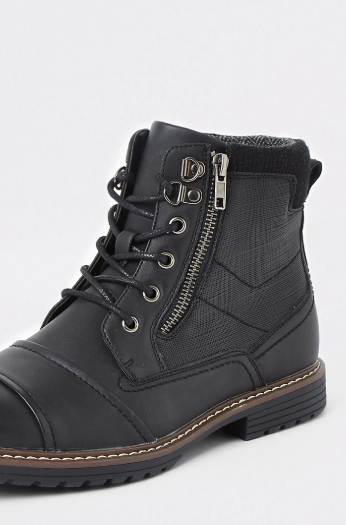 River Island Black Zipped Military Boots