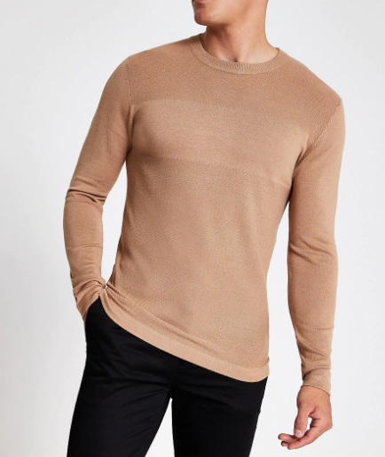 River Island Light Brown Slim Fit Jumper