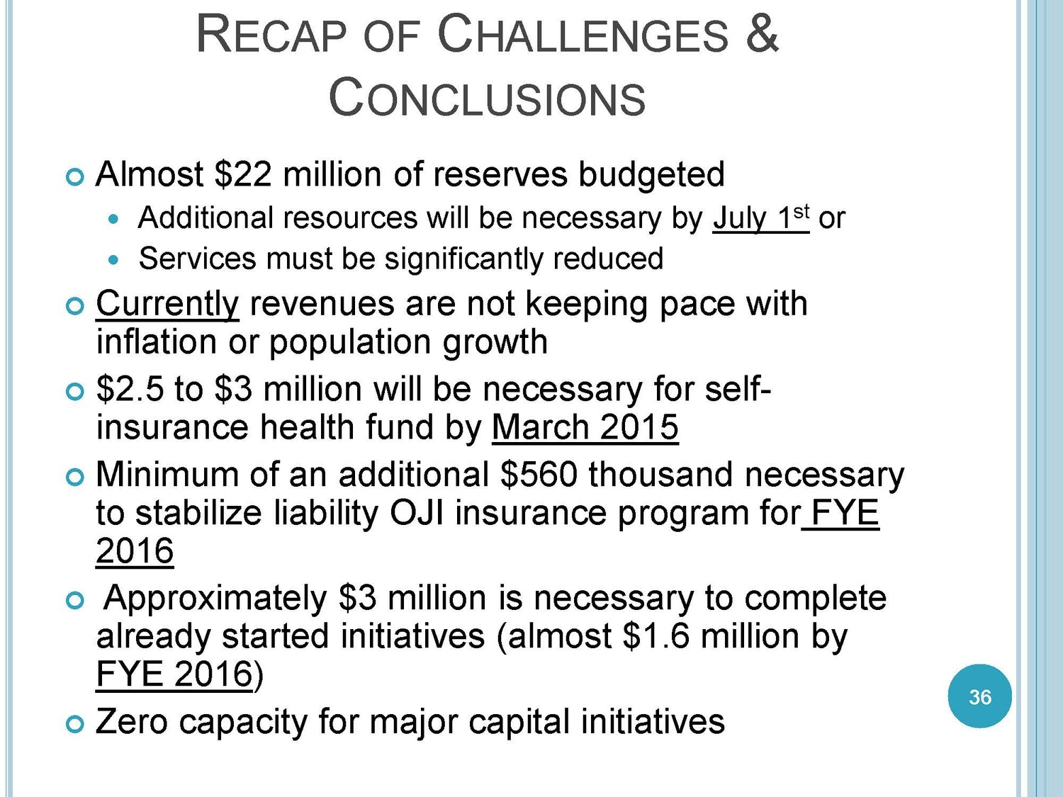Excerpt from Sumner County Finance Director, David Lawing's presentation delivered at the November 3rd called meetings.