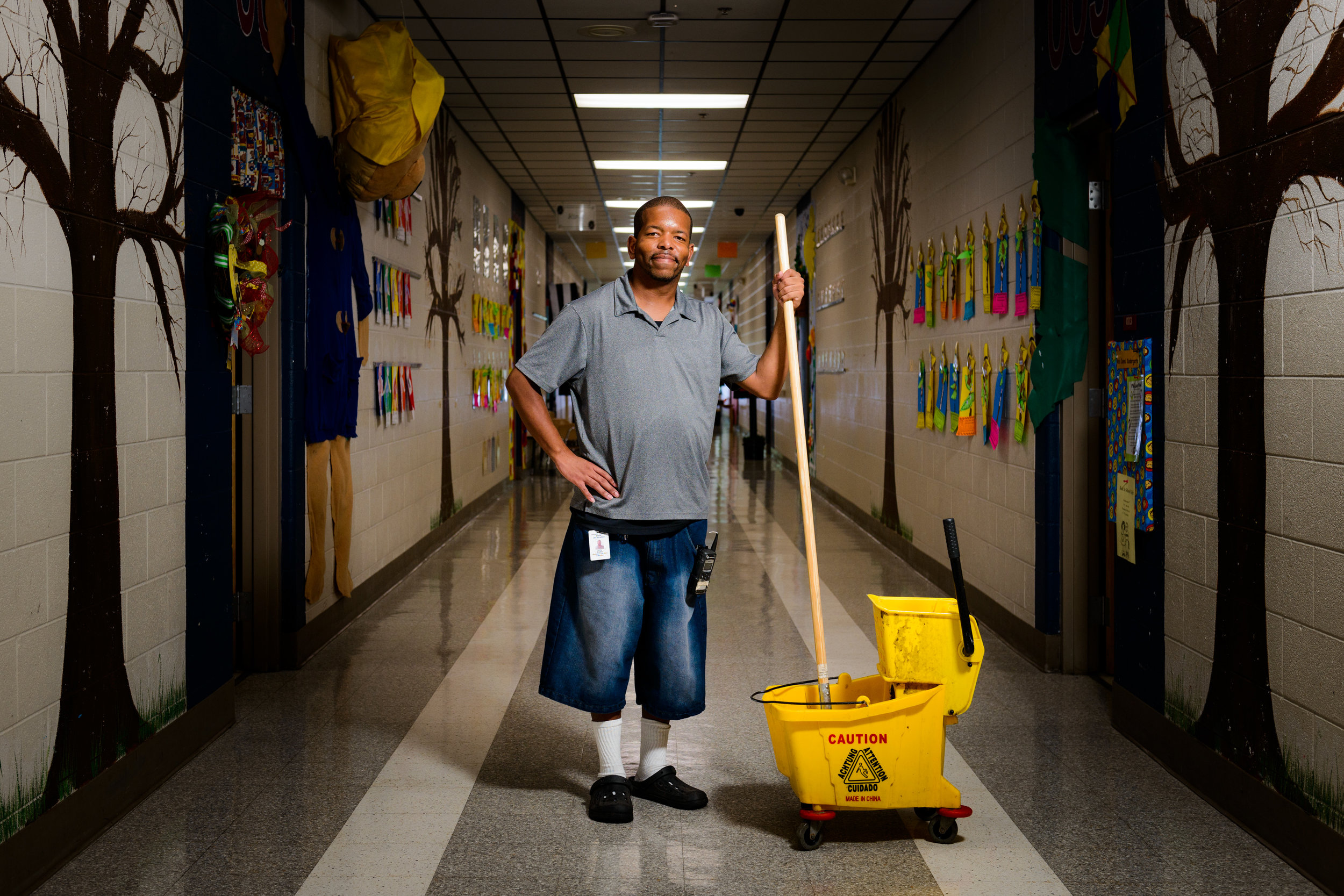 """""""I love keeping the school clean for our kids.""""Jerry Butler is a custodian at Madison Creek Elementary."""