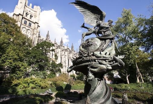 "‪ My Sing   for Hope piano was located behind Greg Wyatt's ""Peace Fountain"" sculpture, on Amsterdam Avenue and 111th Street.    Image courtesy of St. John the Divine's website."