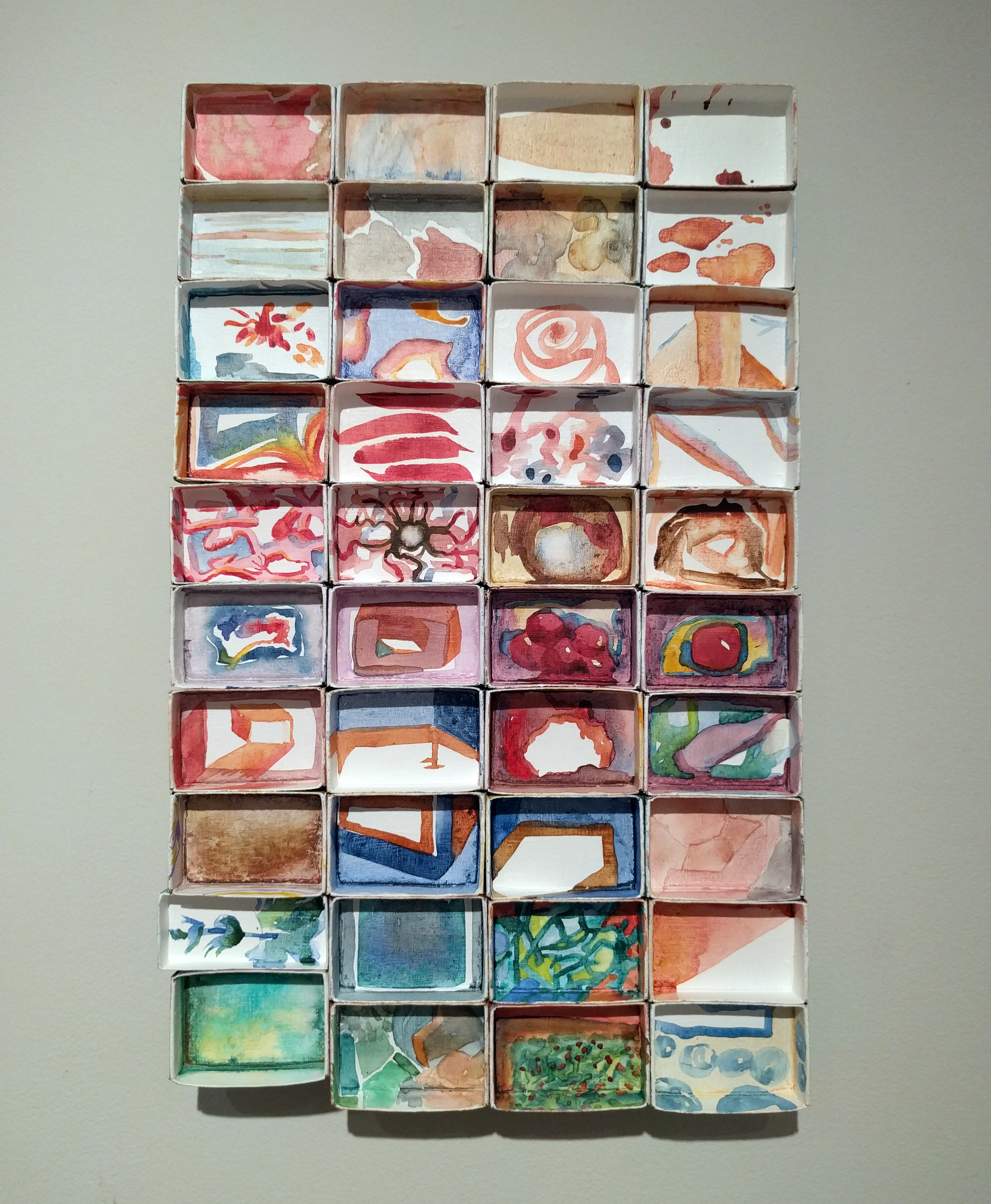 """Victoria Hibbs, """"Safe Place"""" 2015-2016 watercolor on matchboxes, 9 x 14 in."""