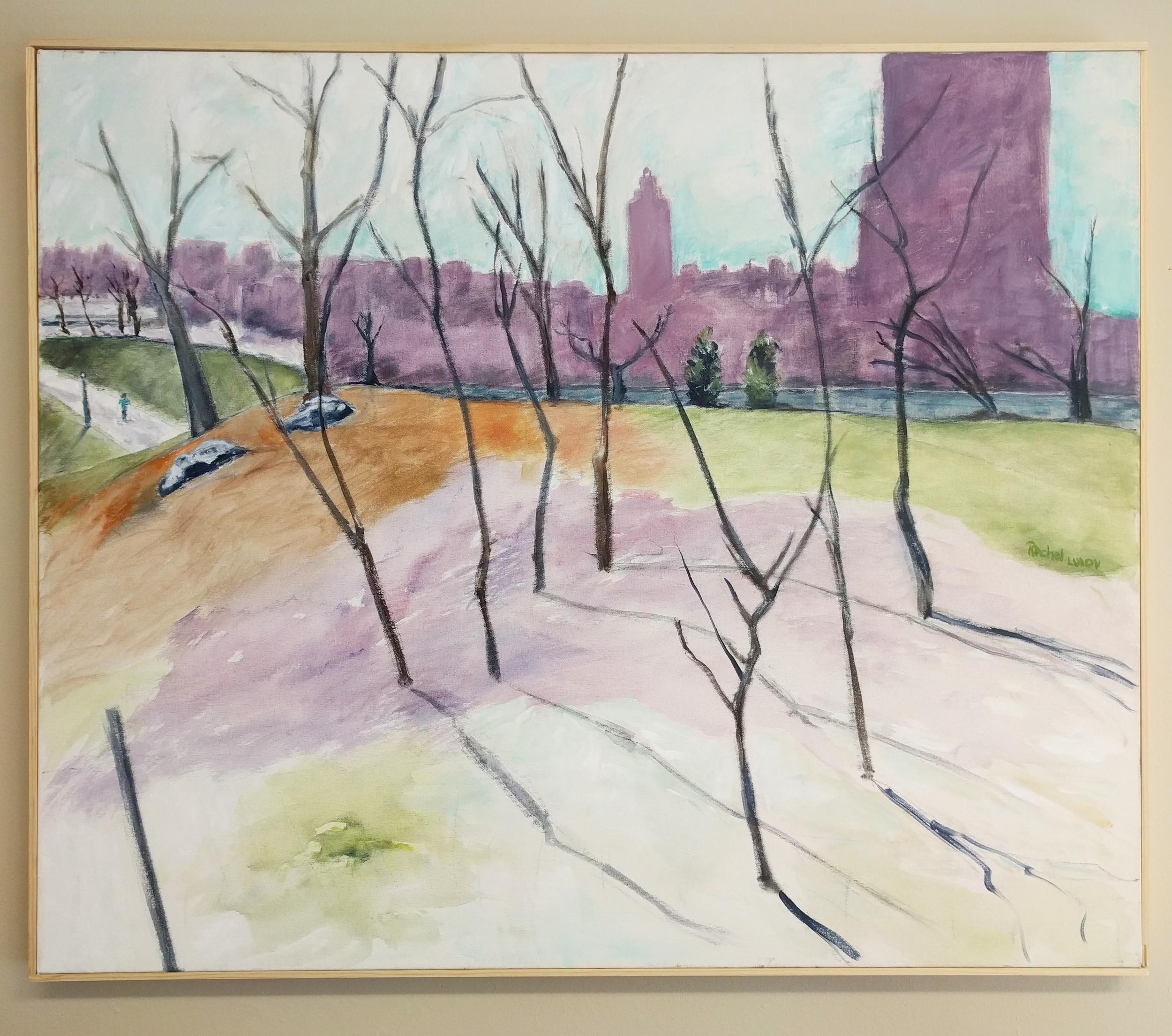 """Rachel Lulov Segall """"Central Park Shadows"""" 2016 acrylic on canvas, 30 x 36 in."""