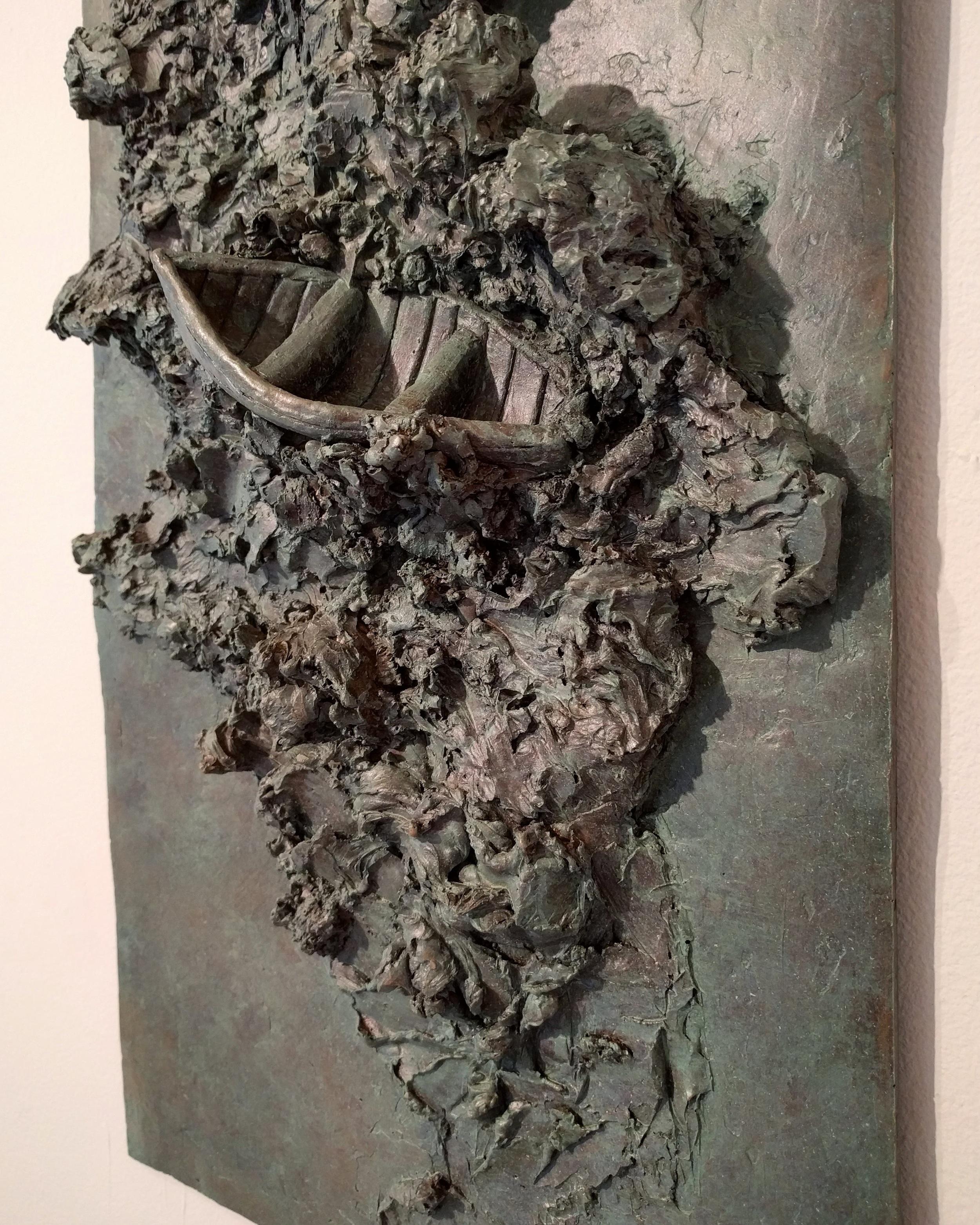 """Michele Bourdeau """"Drunken Sea"""" 2016 (detail) bonded bronze, 24 x 12 in."""