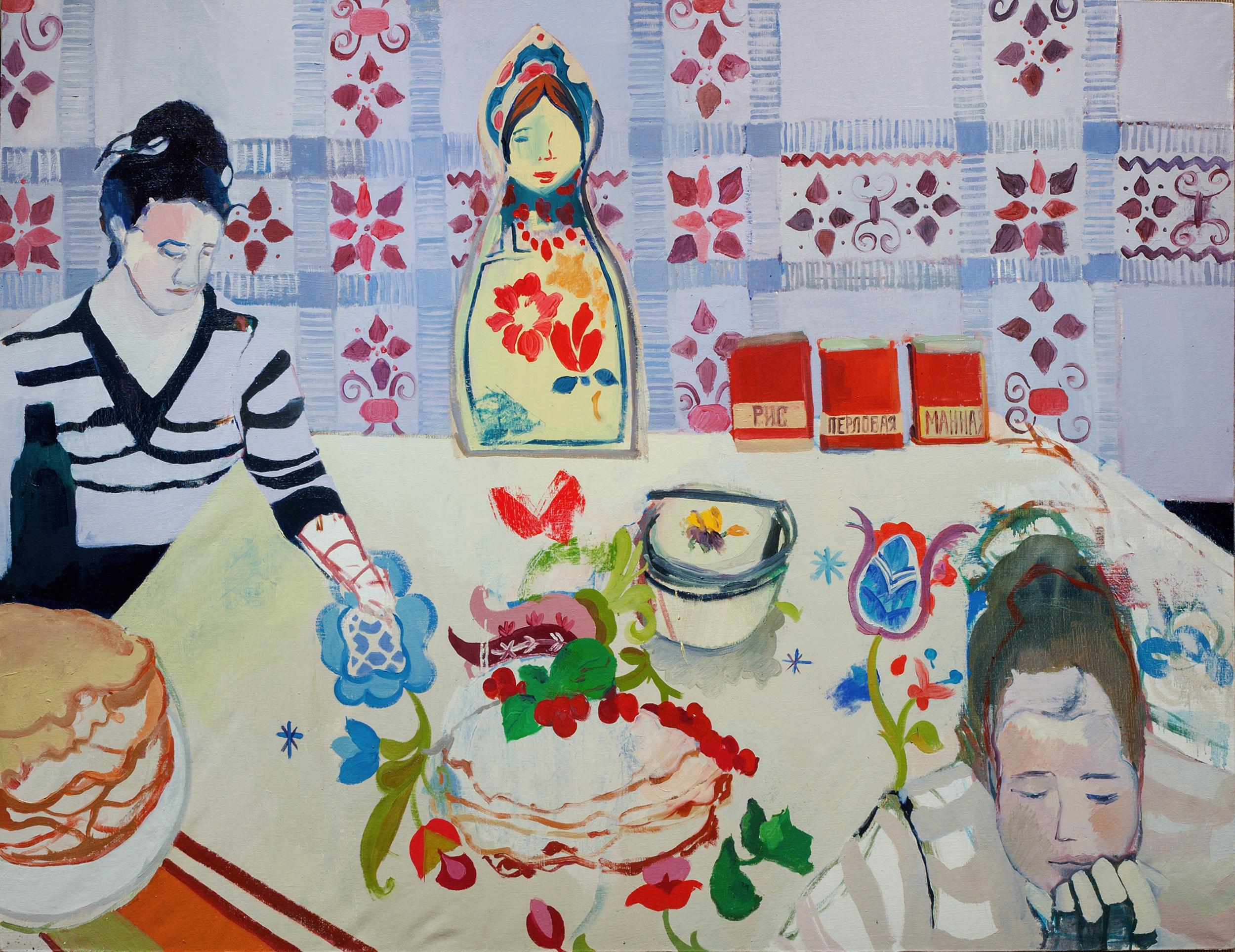 """Ekaterina Vanovskaya """"Untitled Pancakes"""" 2015 oil on linen, 48 x 60 in."""