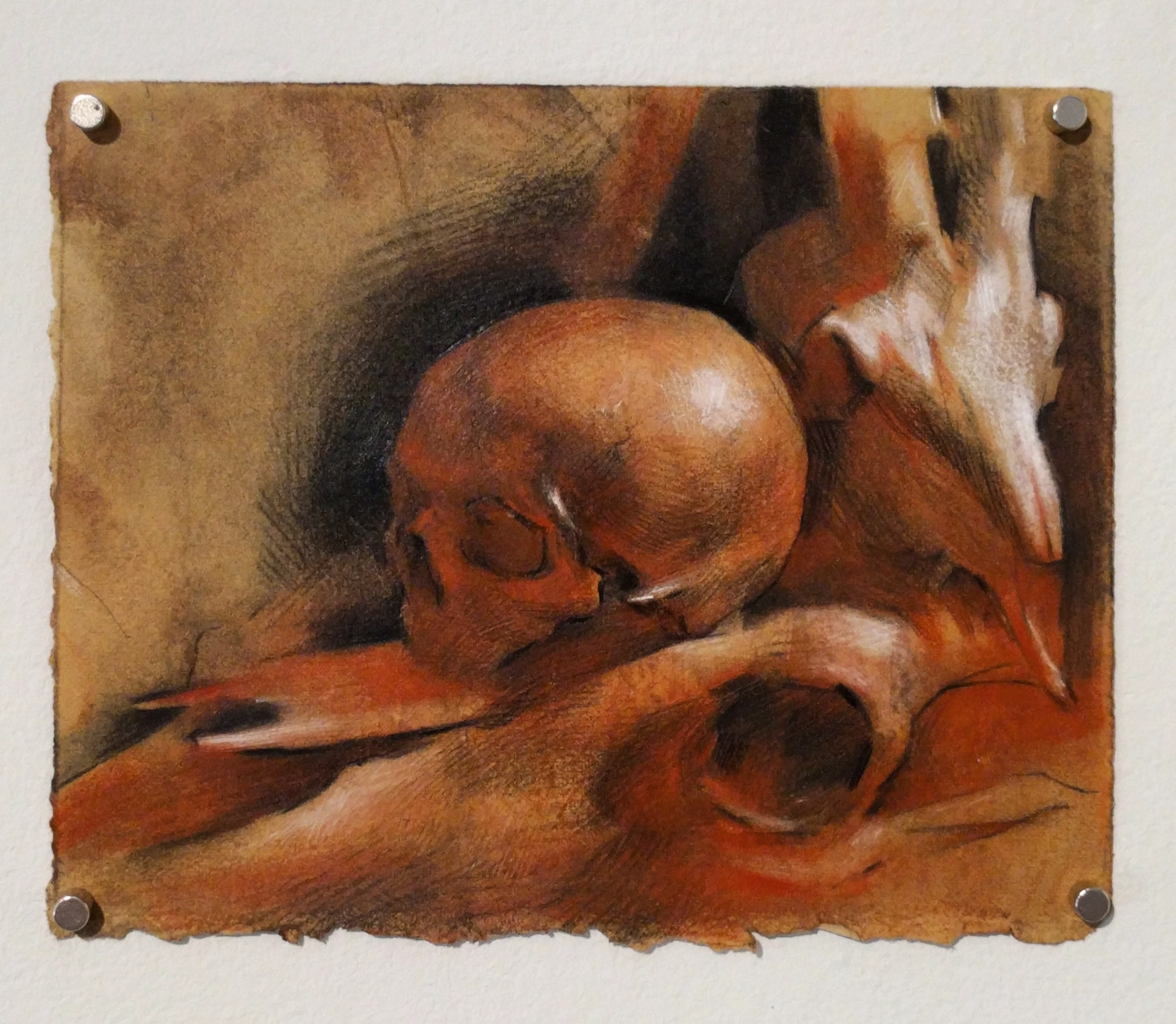 """Evan Kitson, """"Study for 'Ritual'"""" 2016 charcoal, red chalk, shellac on paper, 6 x 7 1/2 in."""