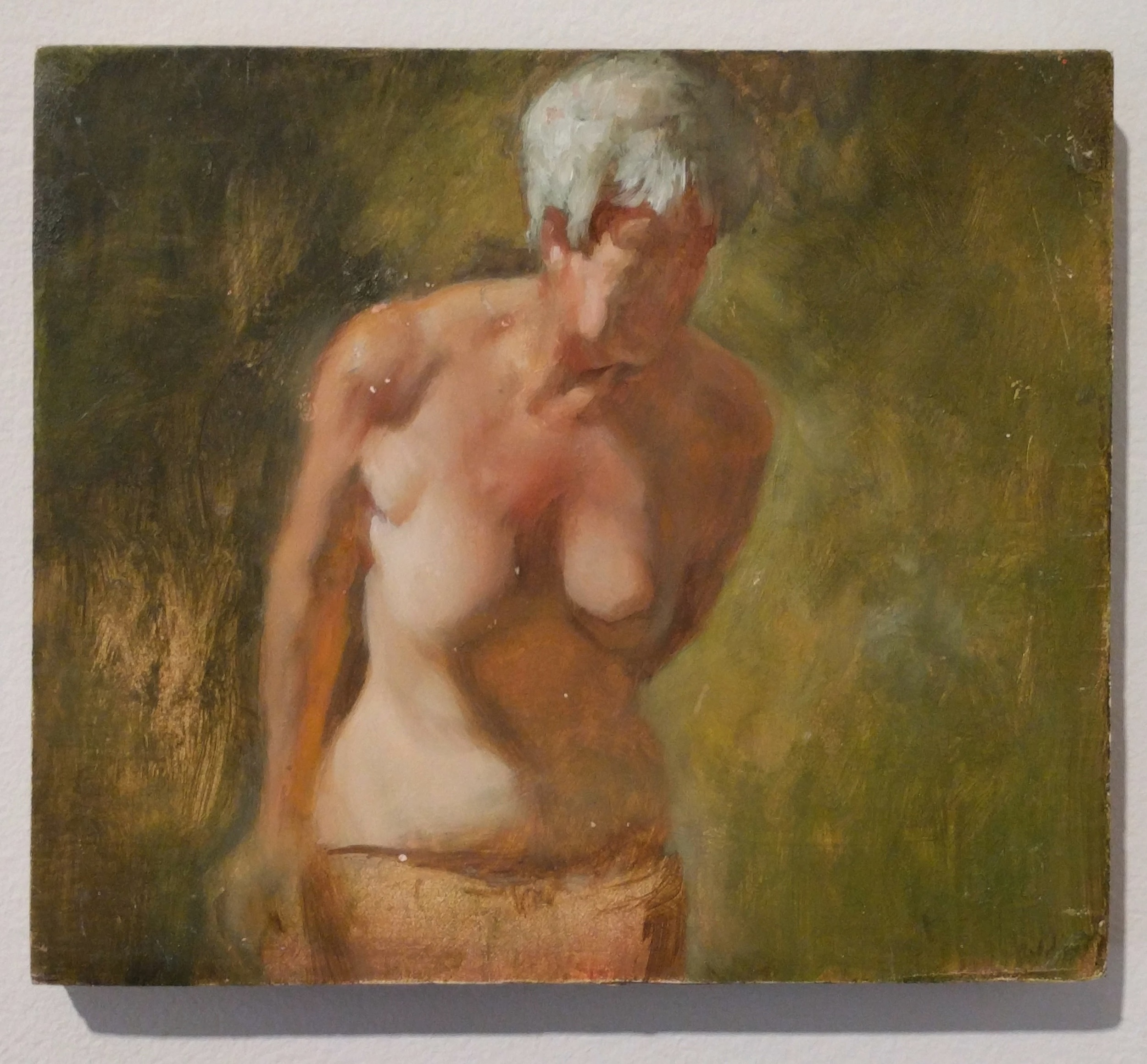 """William Doebele """"Lady on Green"""" 2013 oil on wood, 5 x 6 in."""