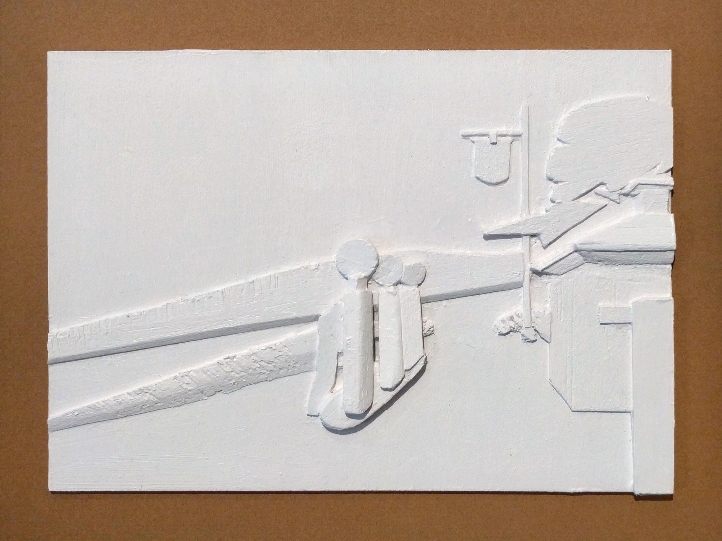 "William Rauschenberg ""After Hopper: Gas"" 2016 acrylic on balsa wood, 16 x 12 1/2 in."