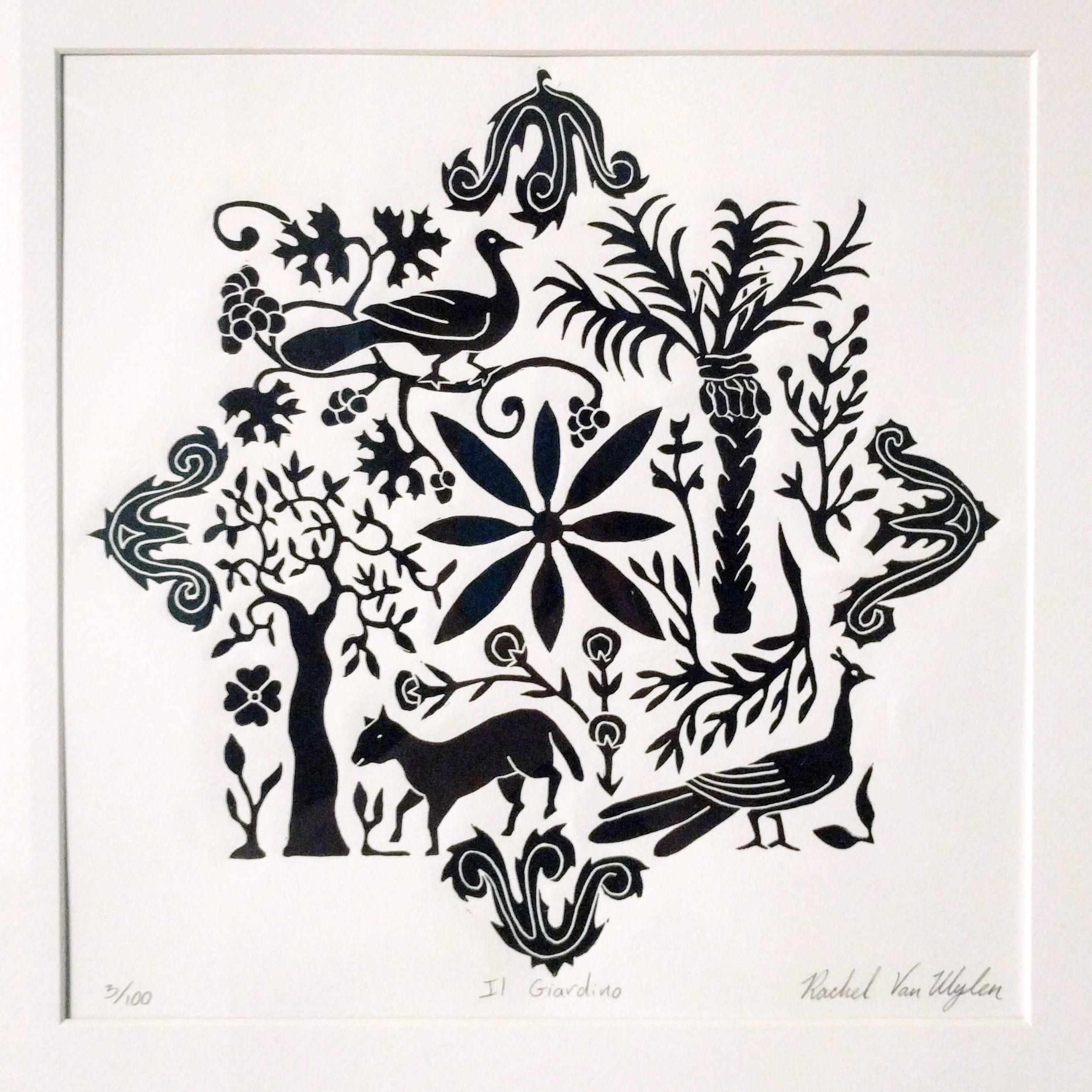 """Rachel Van Wylen """"Il Giardino"""" 2015 linocut, 11 x 11 in."""