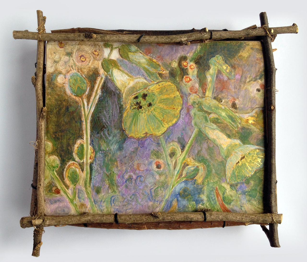 """Pamela Koehler """"Cloister View"""" 2010 egg tempera and gold leaf, 7 1/2 x 9 in. (framed)"""