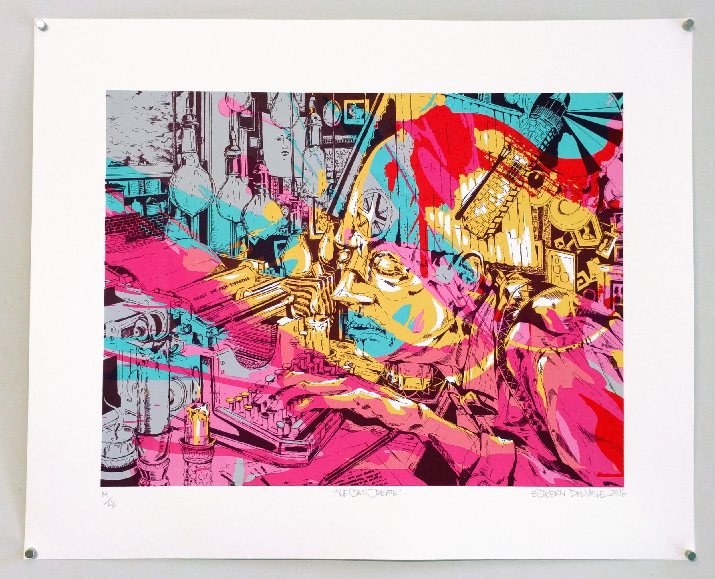 """Esteban del Valle """"We Can Create"""" 2016 8 color silkscreen print, ed. 14/40, 14½ x 18¾ in."""