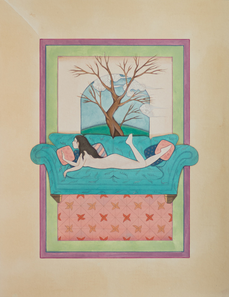 """Hiba Schahbaz """"Room With A View"""" 2014 gouache and watercolor on wasli, 10 x 13 in."""