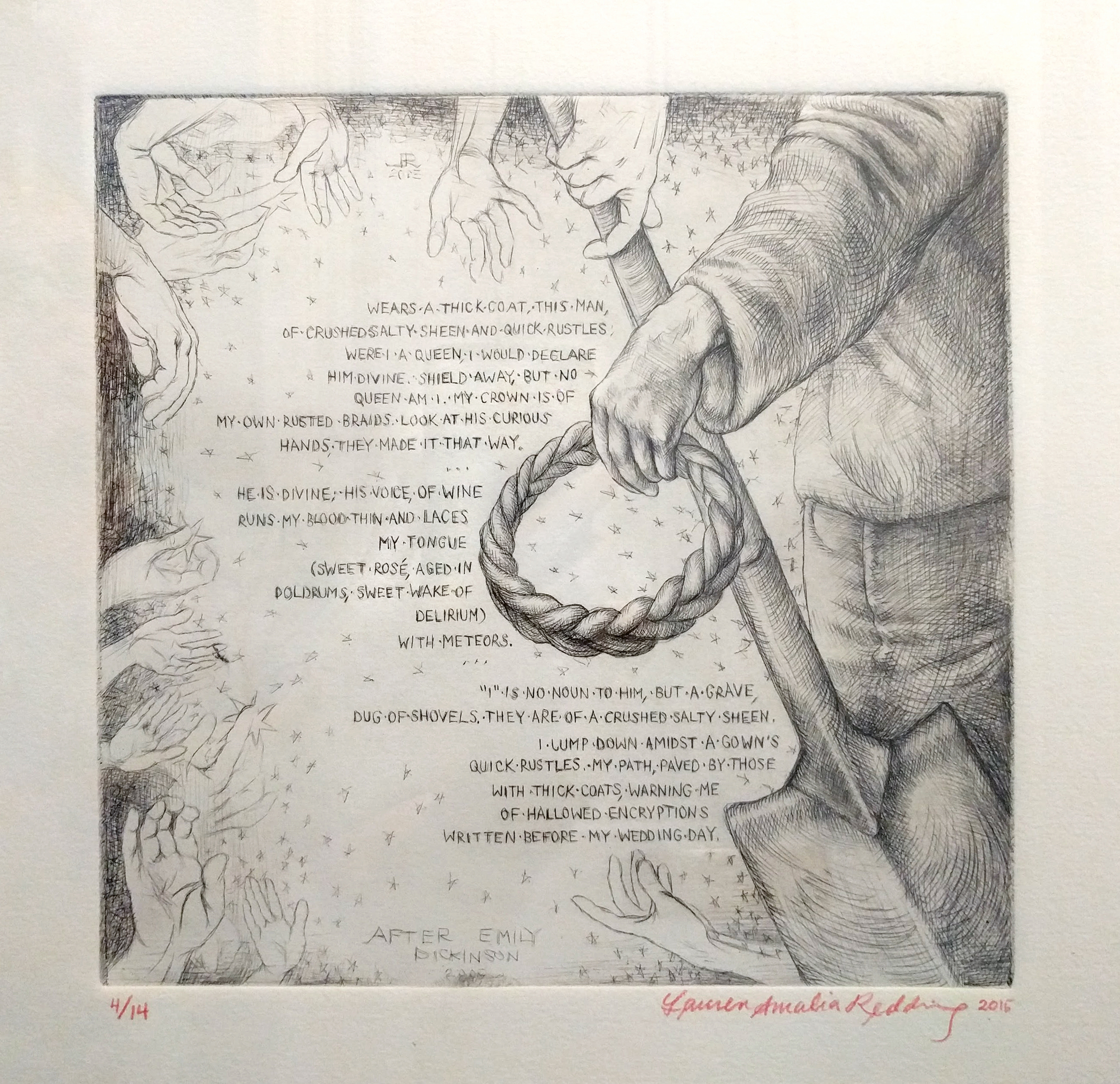 """Lauren Amalia Redding """"After Emily Dickinson"""" 2015  drypoint etching on paper, ed. 1/14, 8 x 8 in. (print)"""