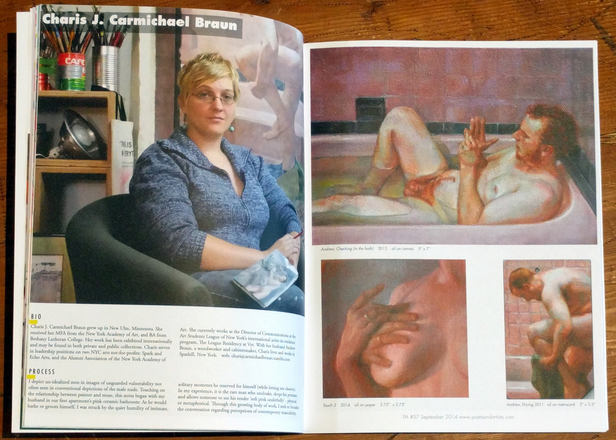 "Menendez, Didi. ""Charis J. Carmichael Braun.""   Poets and Artists  , Issue #57, September 2014: pp. 15-16. Print."