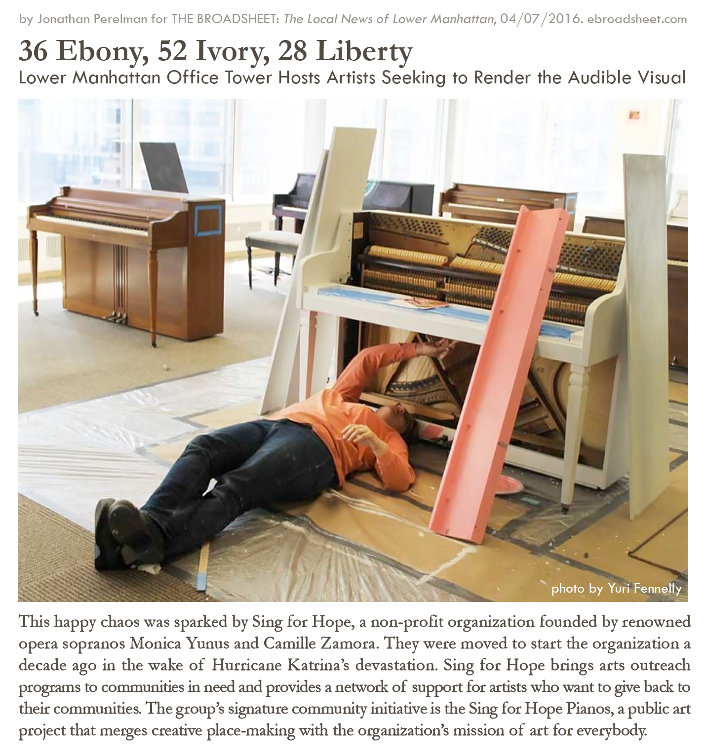 """(Charis was featured in a photograph: Fennelly, Yuri. """"28libertypianoartist1IMG_0954.jpg"""" 2016. Photograph. The Broadsheet. Web. 07 April 2016.)"""