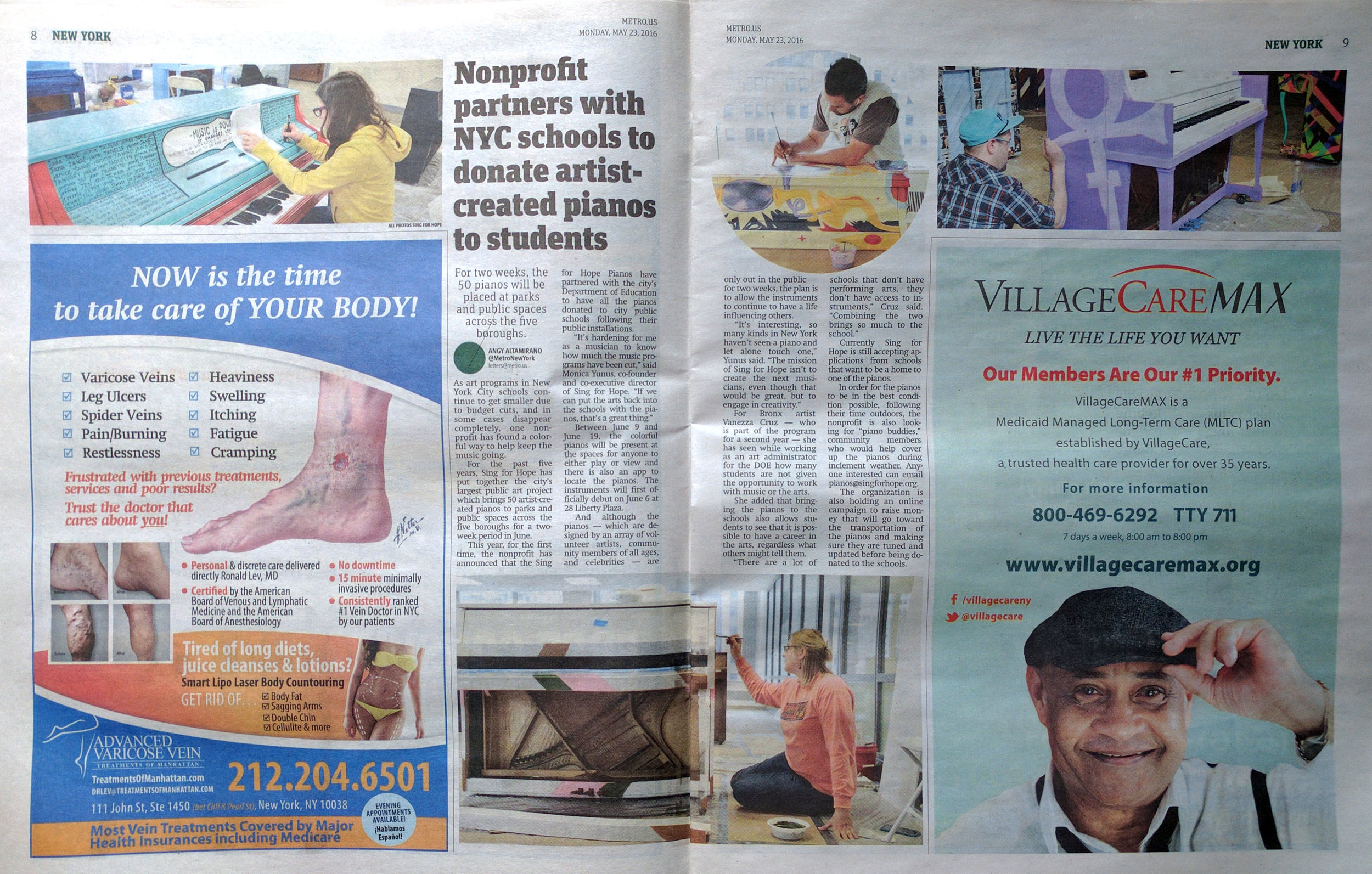 """Altamirano, Angy. """"Nonprofit partners with NYC schools to donate artist-created pianos to students.""""  Metro New York.  Metro, 23 May 2016. Print. (Charis is featured in the bottom photo.)"""
