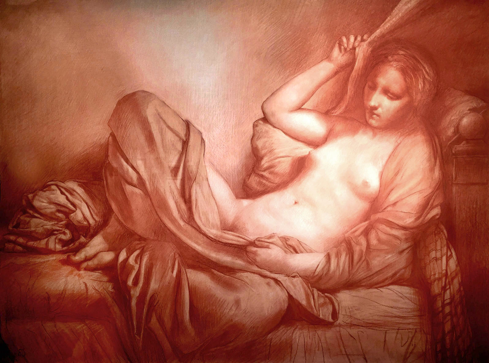 "Edward Schmidt, ""Danae II"" 2016 sanguine & white chalk on prepared paper, 30 x 40 in."