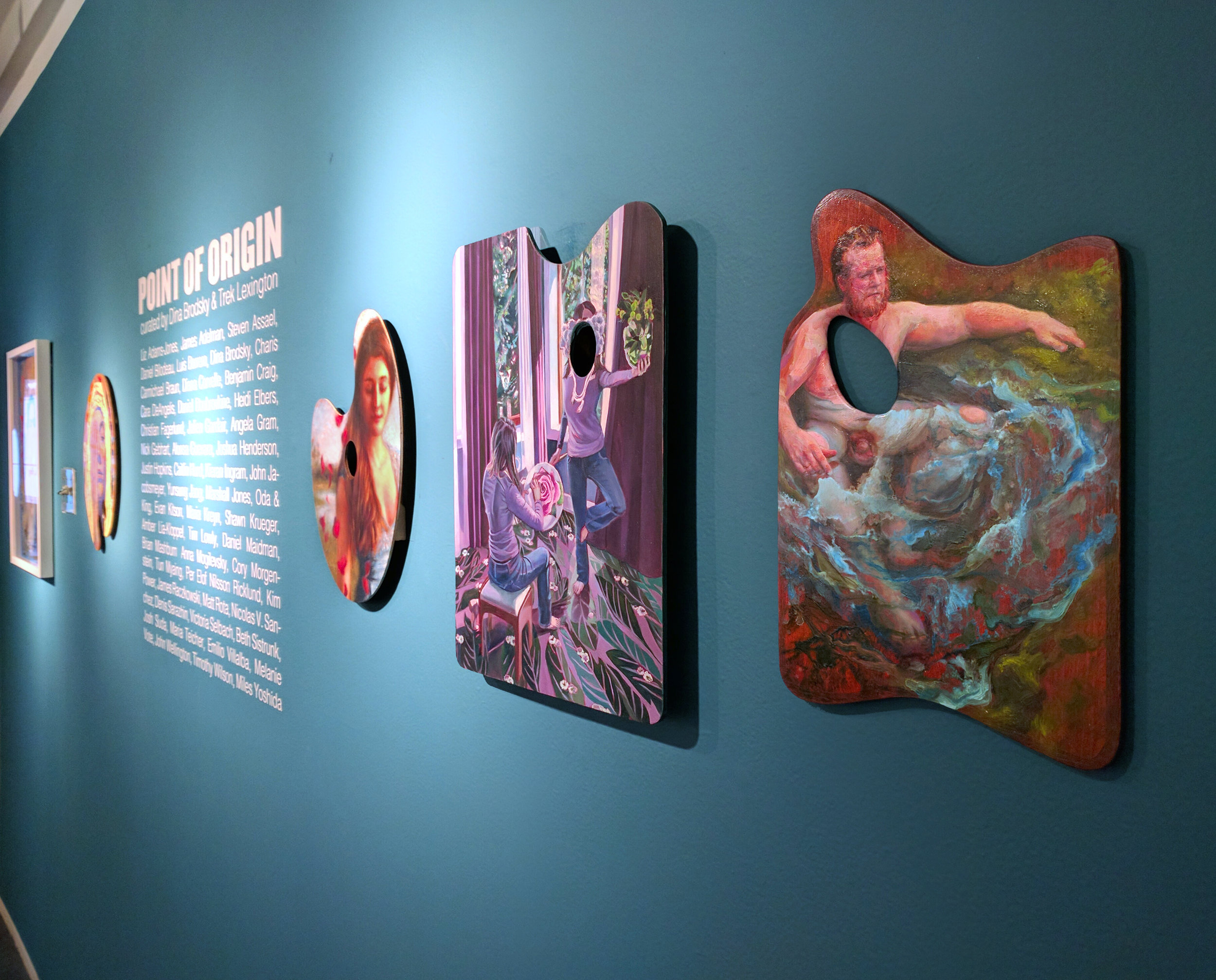 Installation view at The Lodge Gallery, seen with (from left) Beth Sistrunk, and Anna Mogilevsky's palettes.