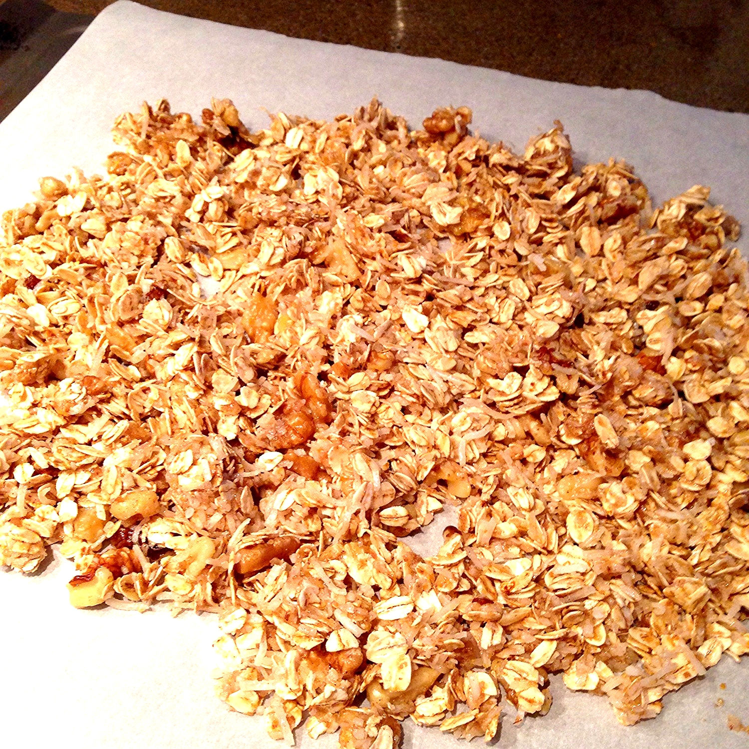 Make sure you're not pressing too firmly.  Once baked, you can crack up the granola into chunks.