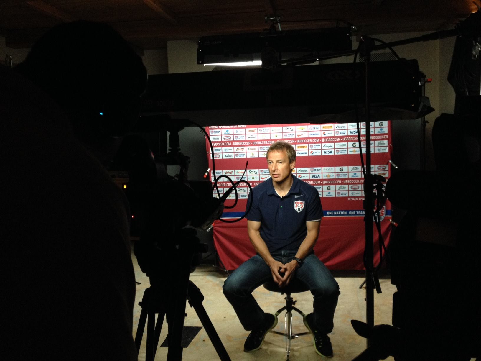 US National Soccer Team Head Coach Jurgen Klinsnmann on the set of  The Game 365.