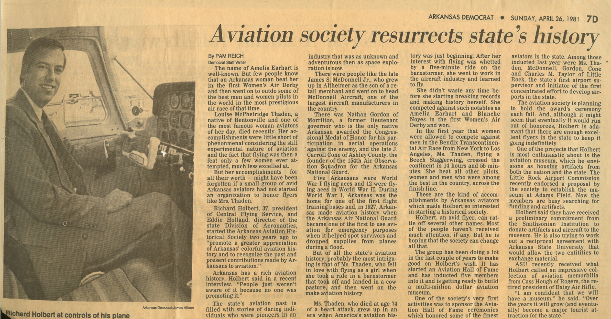 Aviation society resurrects state's history 1981.jpg