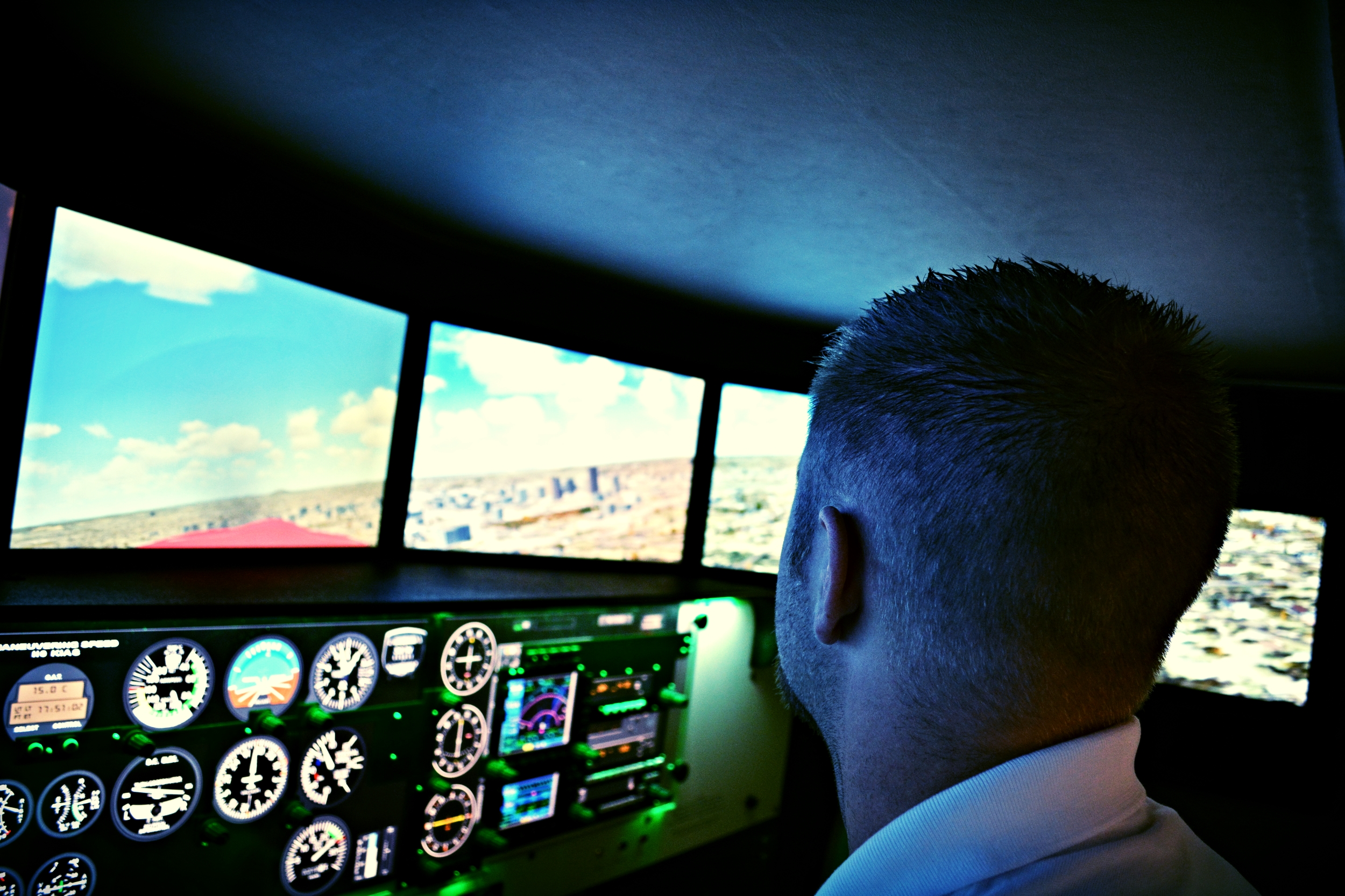 Training in Central's Flight Simulator.