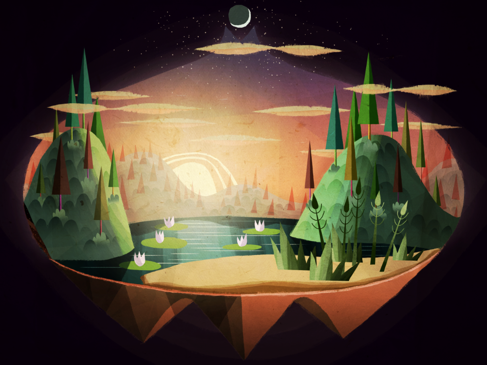 Concept of one of the playable spaces in Luna