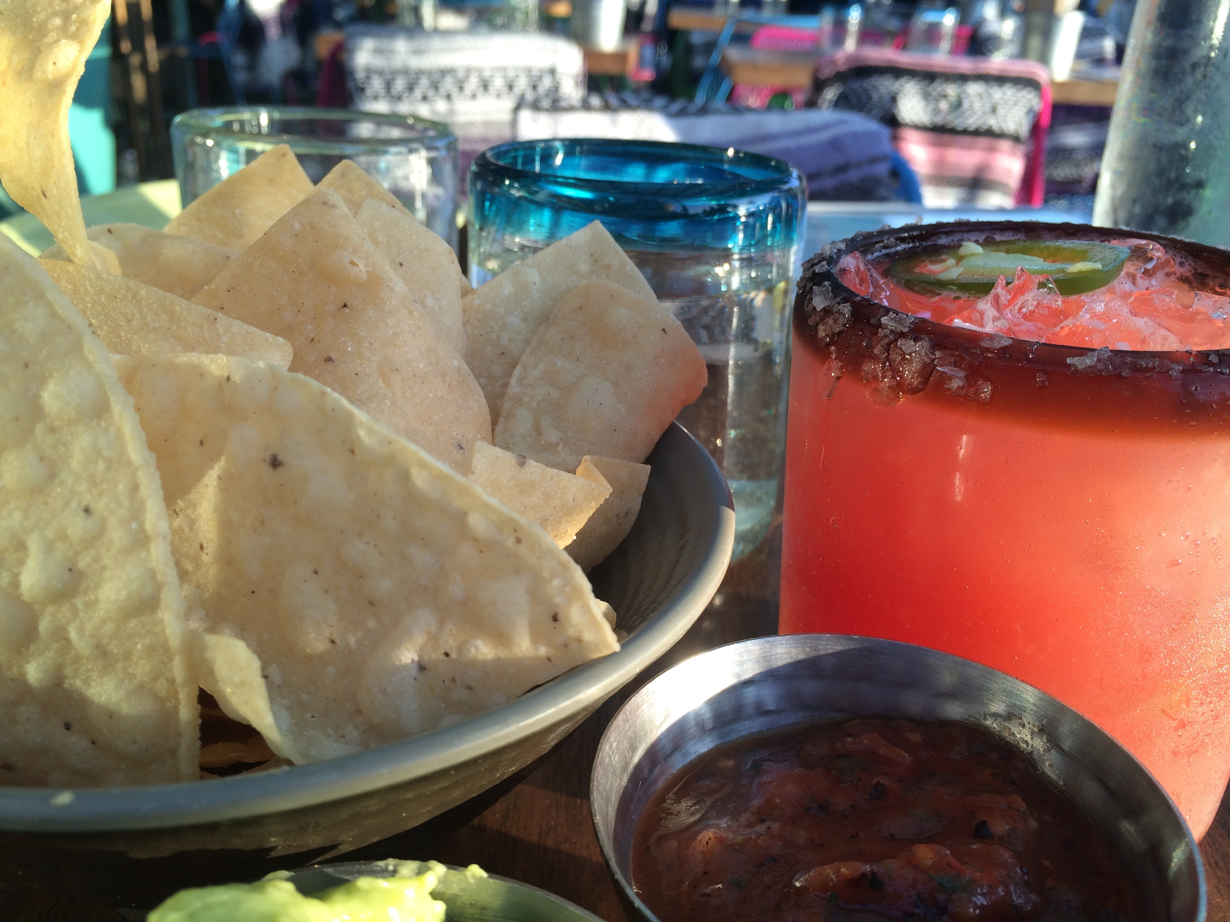 Guacamole and chips paired perfectly with the El Matador margarita (tequila, blood orange, jalapeño, rosemary and Campari).
