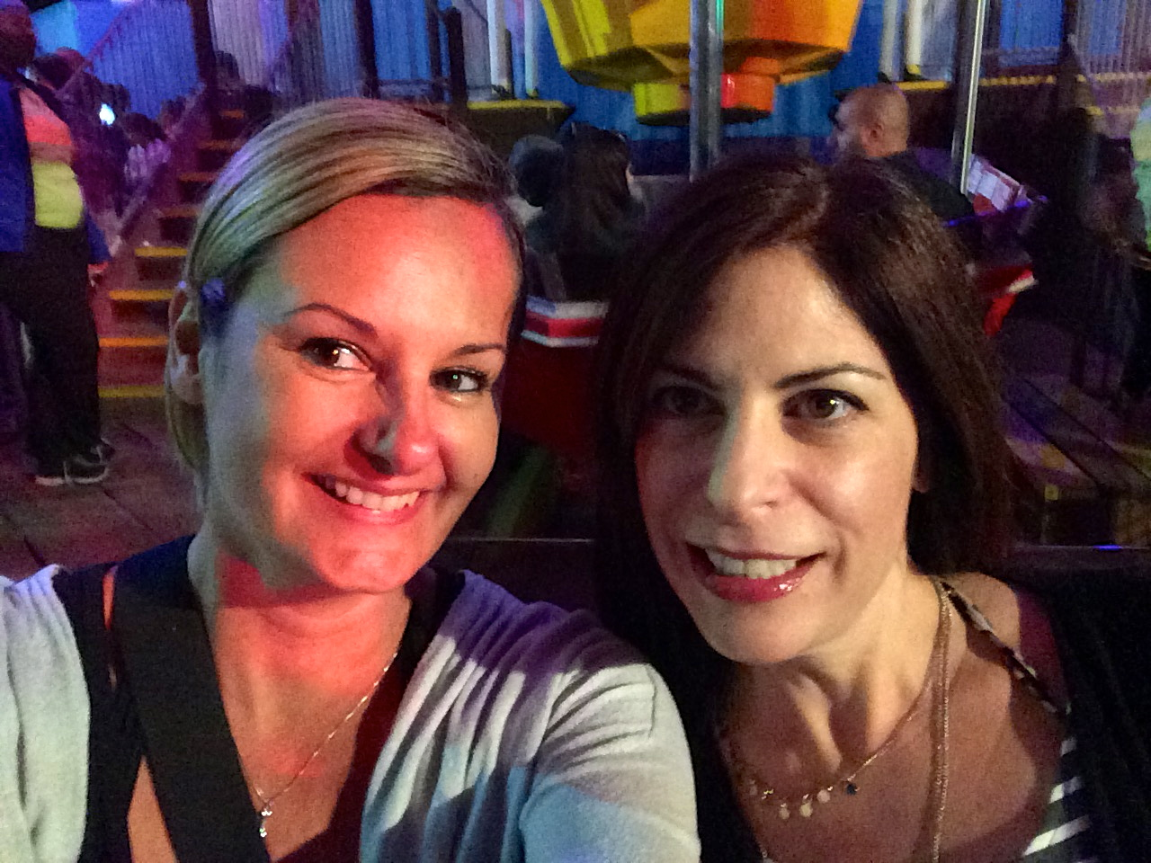 Riding the ferris wheel at the Santa Monica Pier.