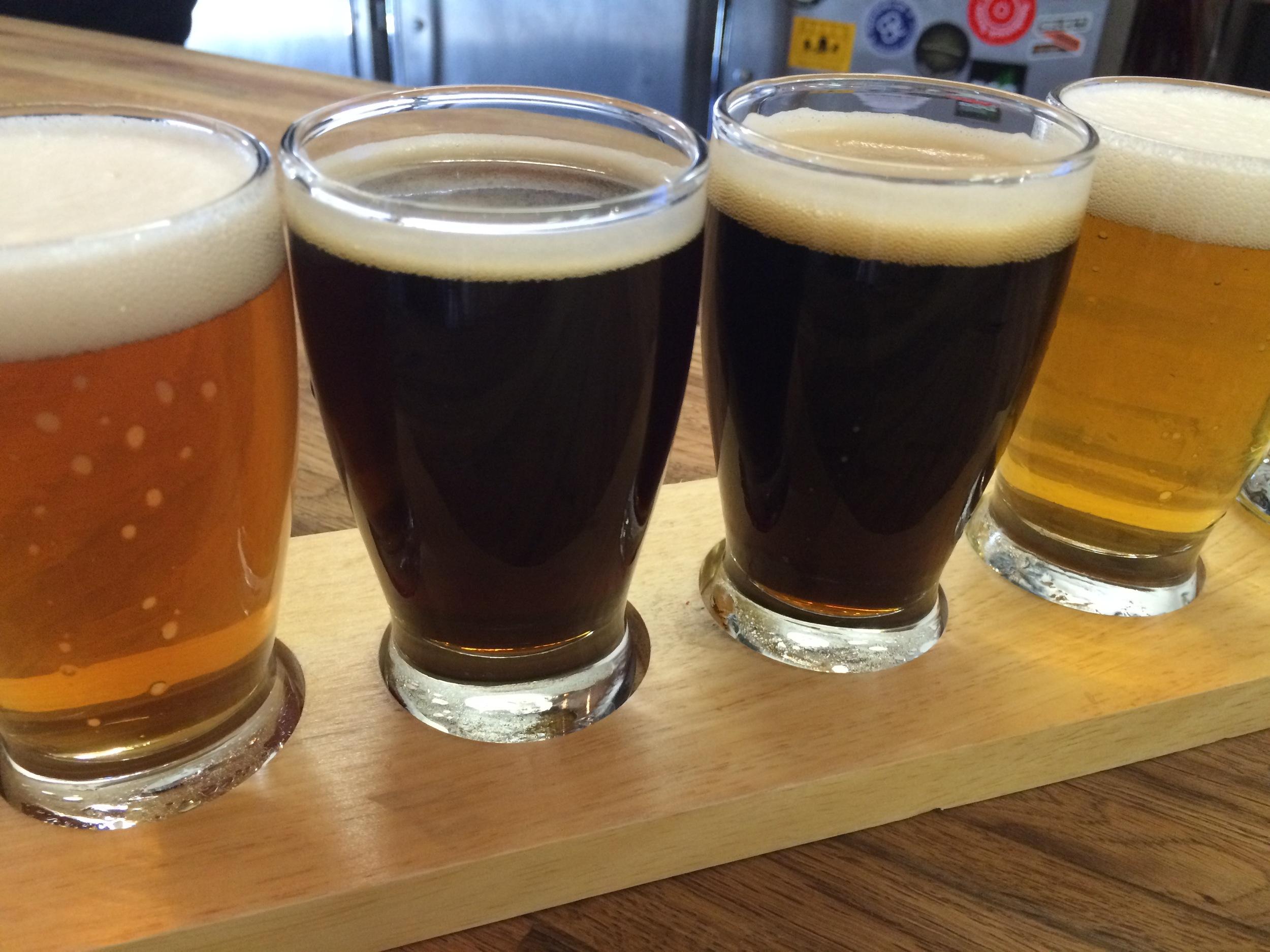Flight of craft brew.