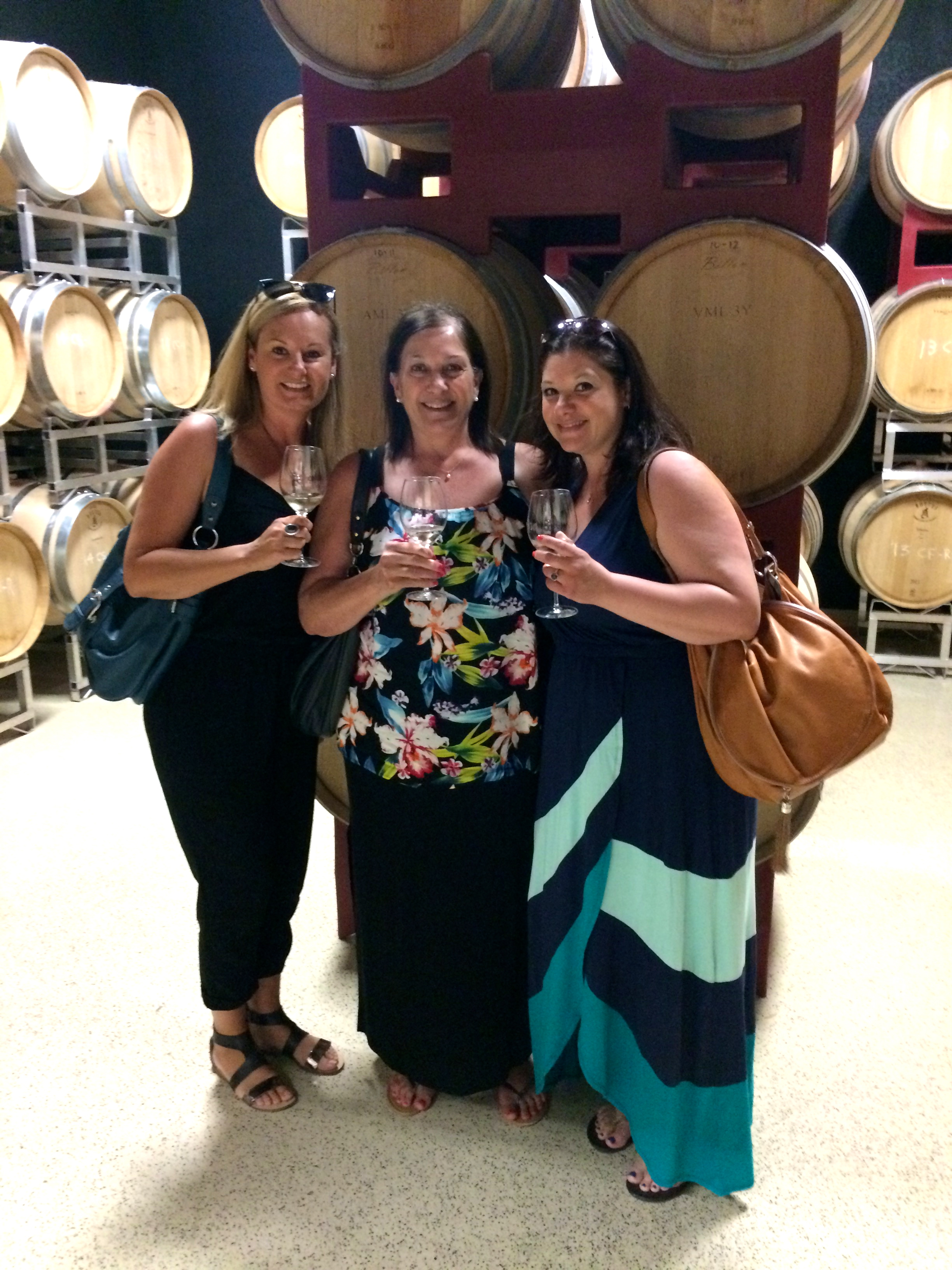 Toasting Mom in the barrel cellar at Hinterbrook Winery.