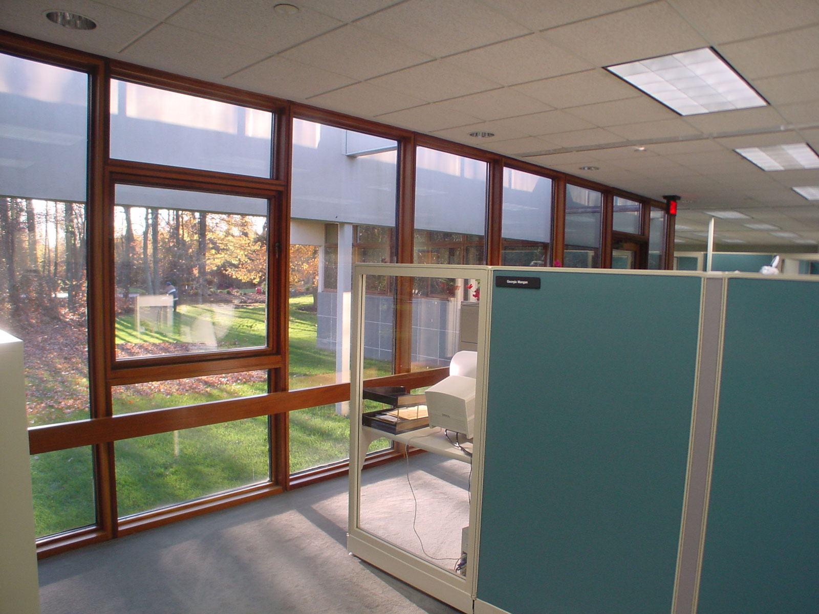 Operable windows bring in fresh air to the office area and exterior shading devices allow  Daylight to brighten the interior without glare.