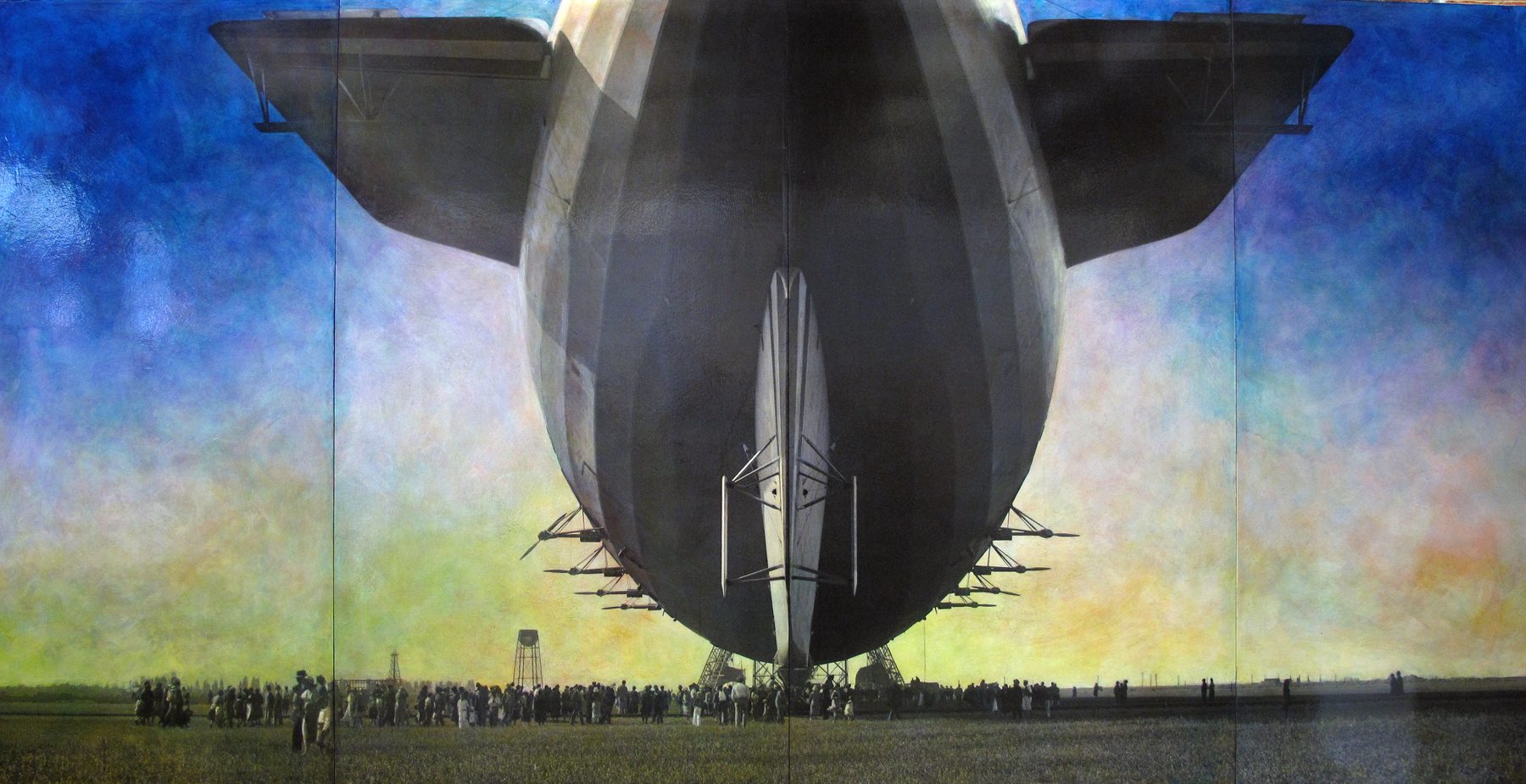 Stacey M. Carter, Tail View of Airship Akron at Moffett Field 1932, Hangar One Under Construction, 2014.