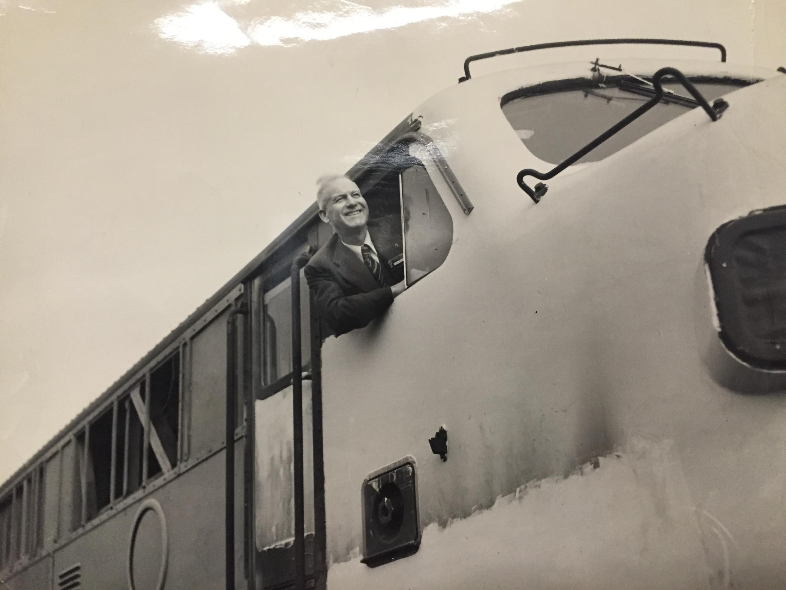 Billy Jones aboard a train.