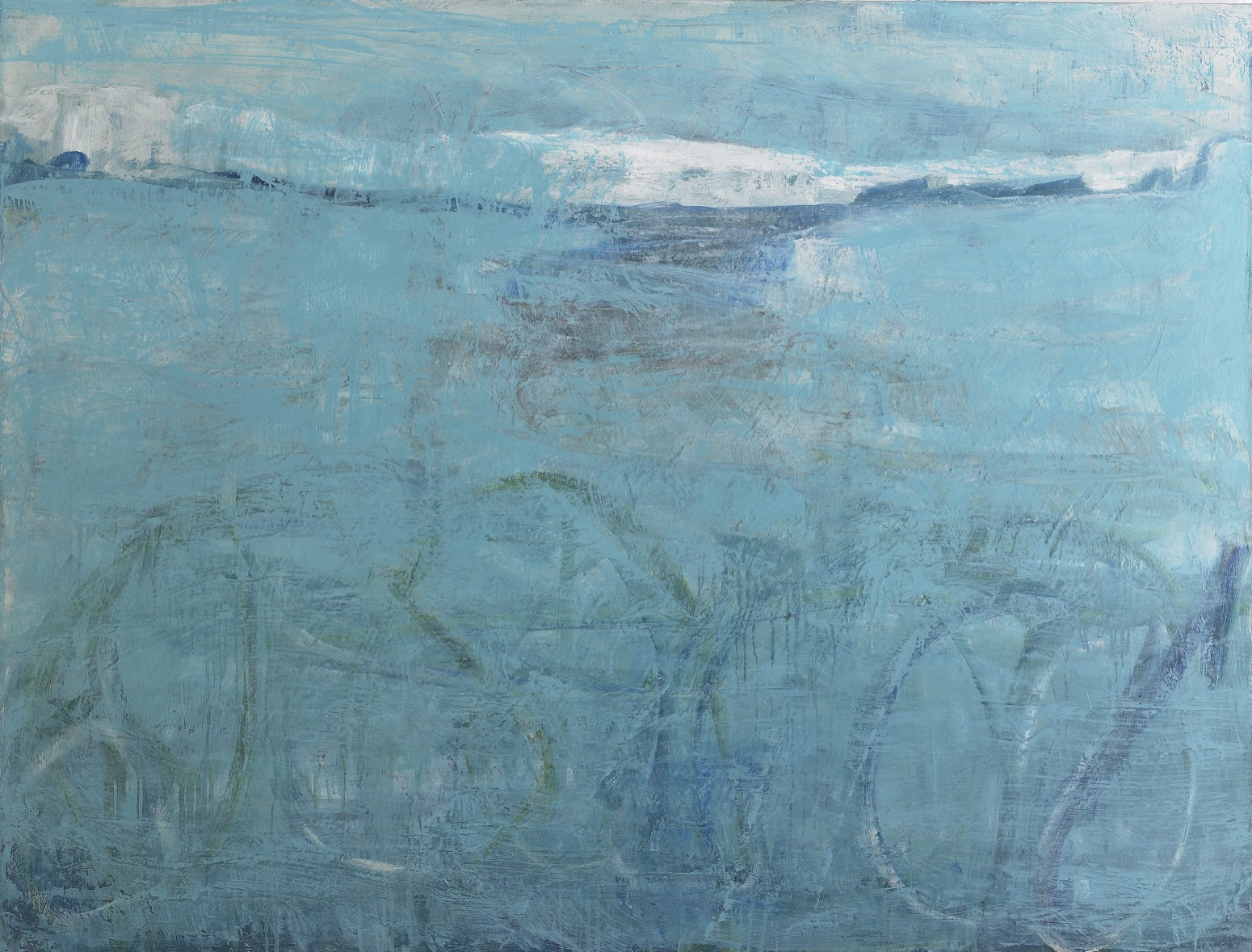 "Christel Dillbohner,  Frozen in Time , 2012-14, Oil, cold wax on linen, 55"" x 72"", Courtesy of Don Soker Contemporary Art, SF"