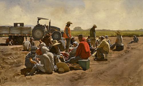 "Warren Chang,  Lunch Break , Oil on canvas, 40"" X 24"", Courtesy of Monterey Museum of Art"