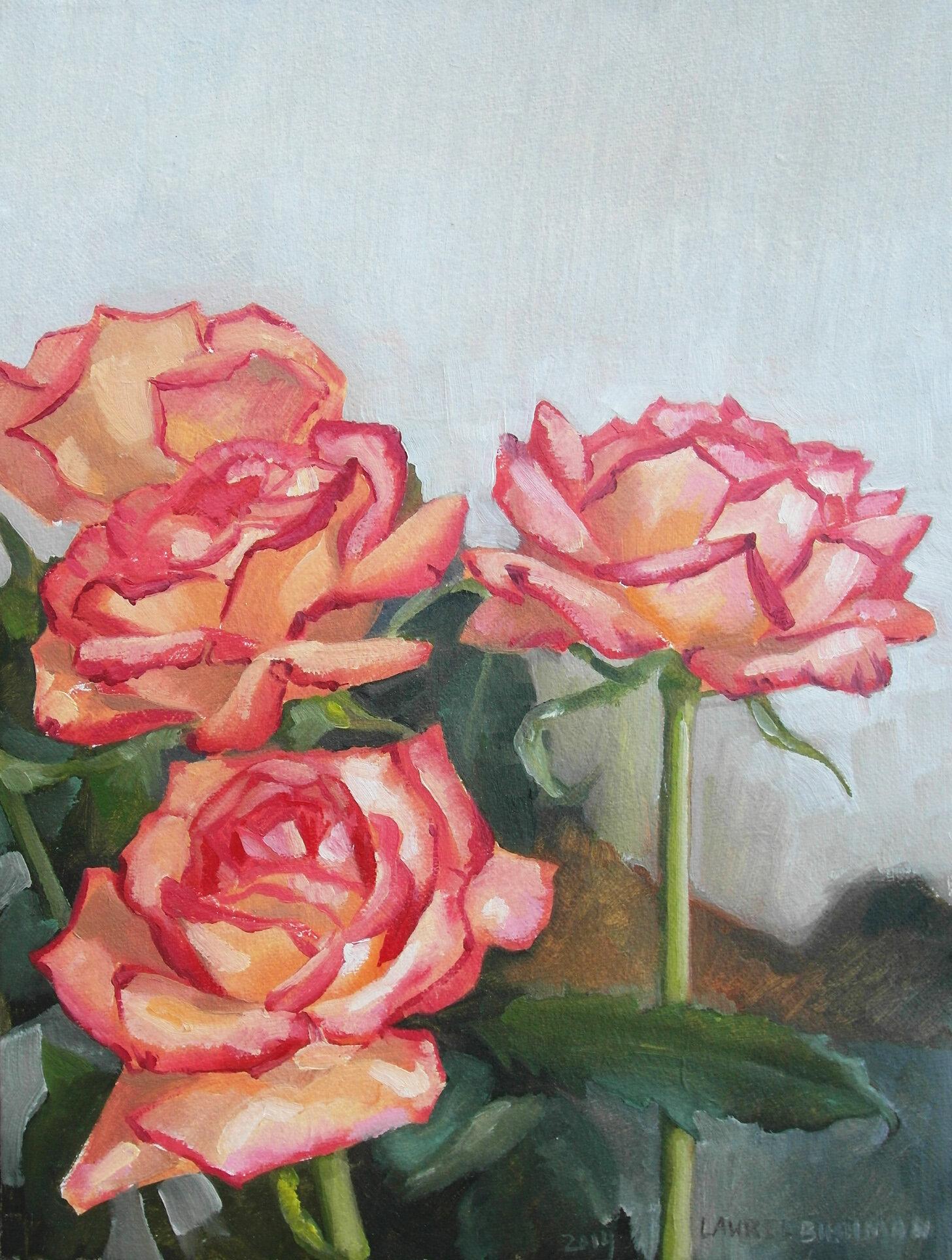 Laurel Roses Oil Painting