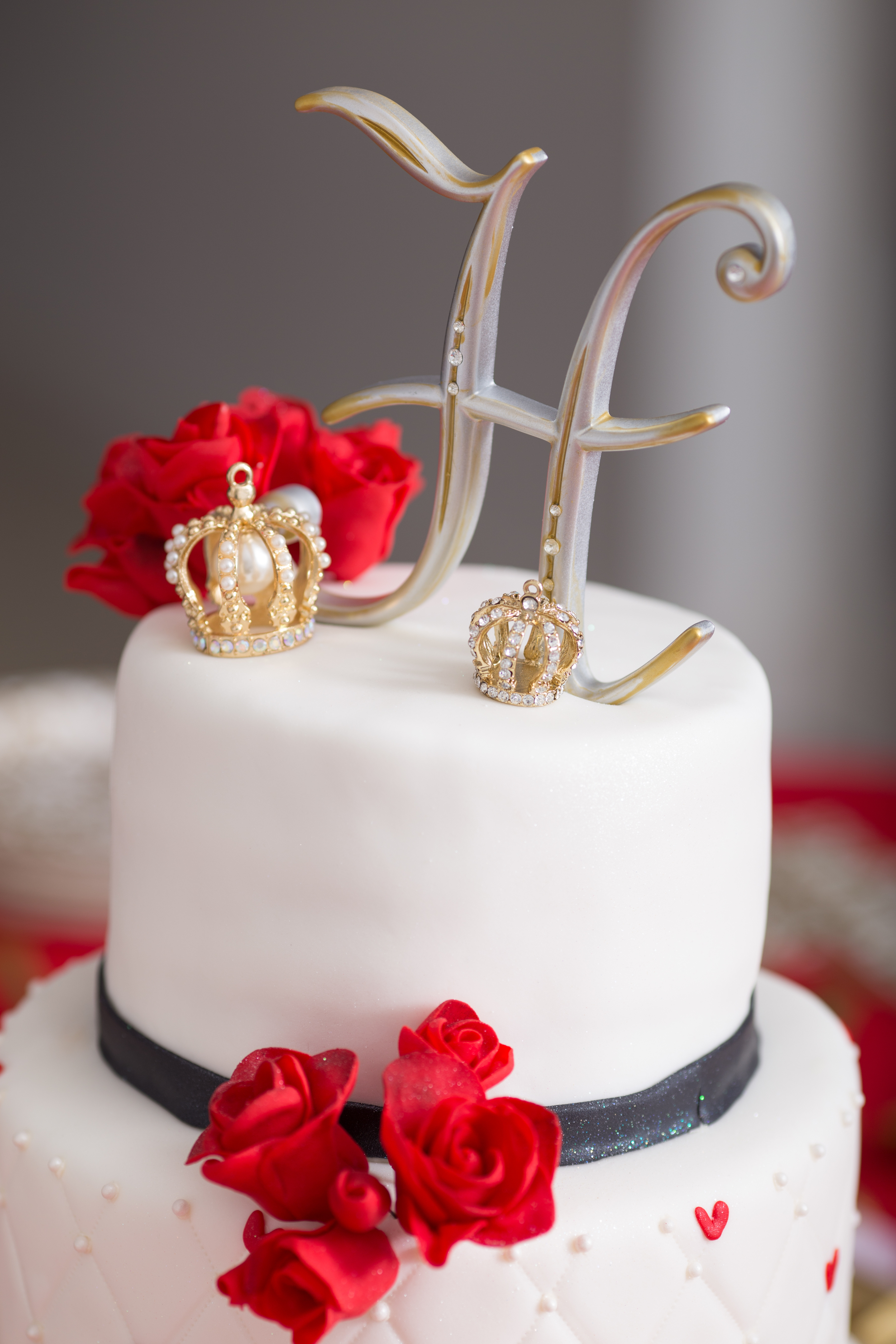 Three-tiered cake by Once Upon a Crumb Bakery!
