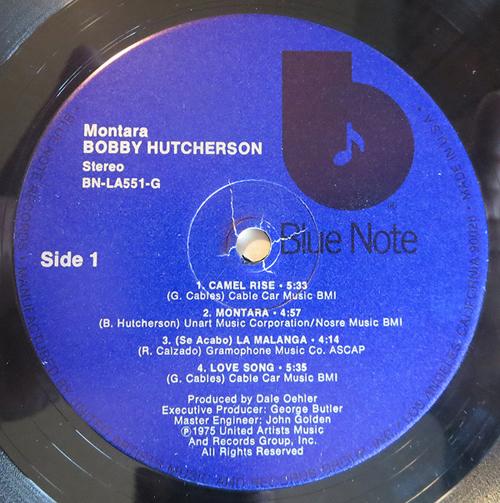 "BOBBY HUTCHERSON - ""MONTARA"" - label"