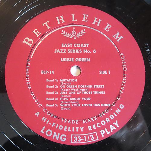 "Urbie Green - ""East Coast Jazz Series No. 6"" - Label"