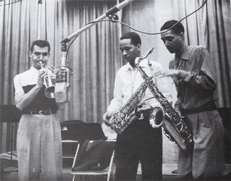 "Left to Right: Conte Condoli, Frank Morgan, Wardell Gray At Recording Session For ""Norman Granz Presents"" In Los Angeles, March 1955. (Photo Credit - Roy Avery)"
