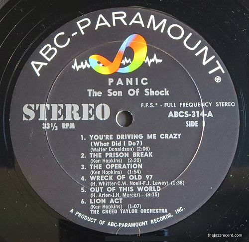 """The Creed Taylor Orchestra - """"Panic: Son Of Shock"""" - LP Label"""