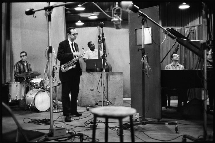 The Dave Brubeck Quartet Recording In Studio. (Date & Photo Credit Unknown)