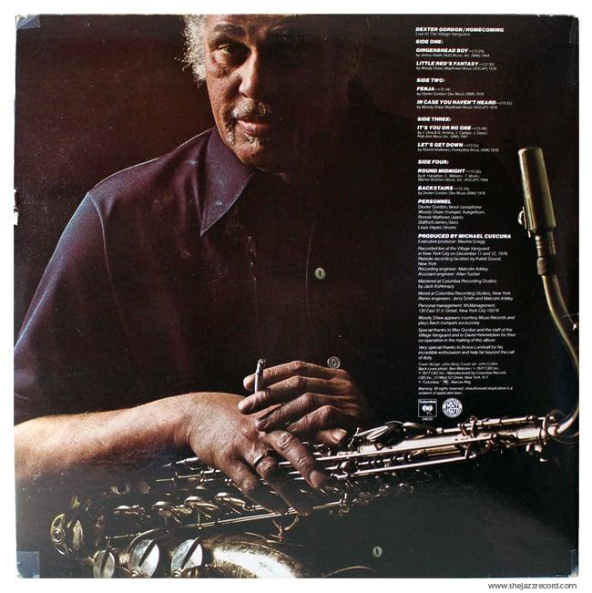 Dexter Gordon - Homecoming - Back Cover - Vinyl